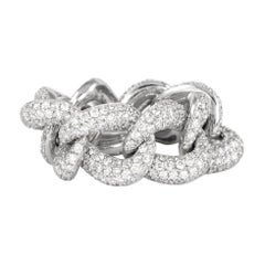 4.30 Carat Cuban Link Ring 18 Karat White Gold Pavé Set