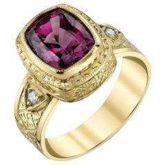 4.30 ct. Rhodolite Garnet & Diamond, 18k Gold Handmade Bezel, Engraved Band Ring