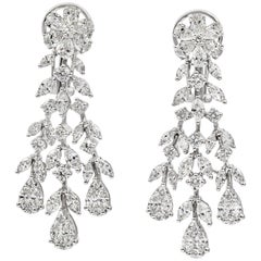 4.30 Carat Diamond Fringe Dangle Earrings