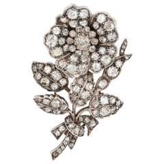 4.30 Carat Diamond Vintage Flower Brooch