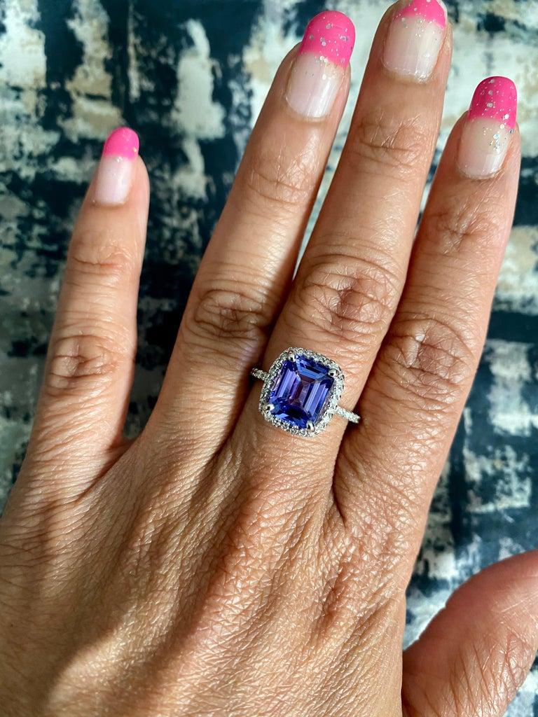 4.30 Carat Emerald Cut Tanzanite Diamond 14 Karat White Gold Engagement Ring For Sale 2