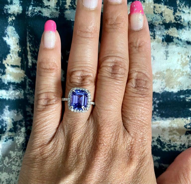 4.30 Carat Emerald Cut Tanzanite Diamond 14 Karat White Gold Engagement Ring For Sale 3