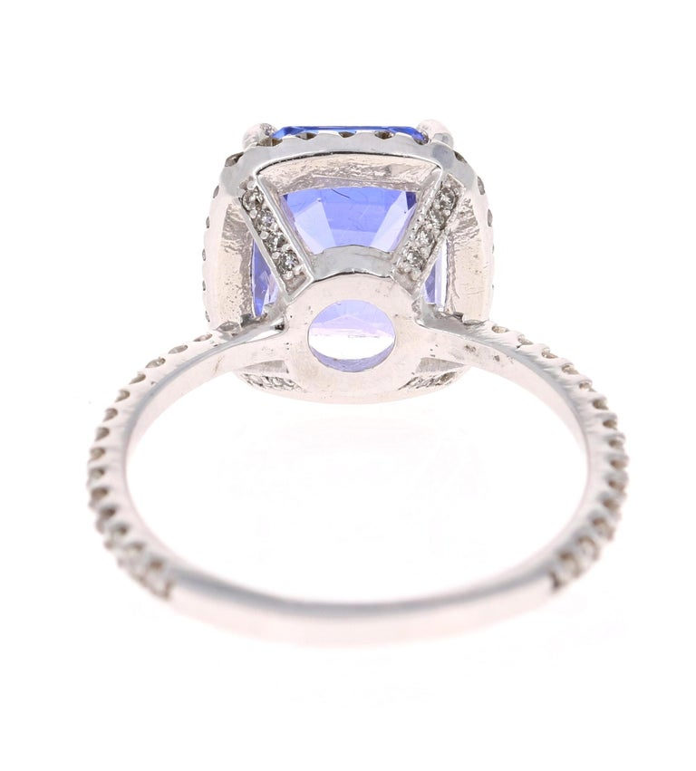 4.30 Carat Emerald Cut Tanzanite Diamond 14 Karat White Gold Engagement Ring In New Condition For Sale In San Dimas, CA
