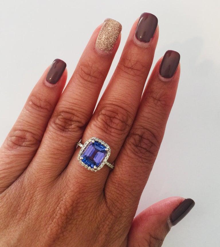 Women's or Men's 4.30 Carat Emerald Cut Tanzanite Diamond 14 Karat White Gold Engagement Ring For Sale