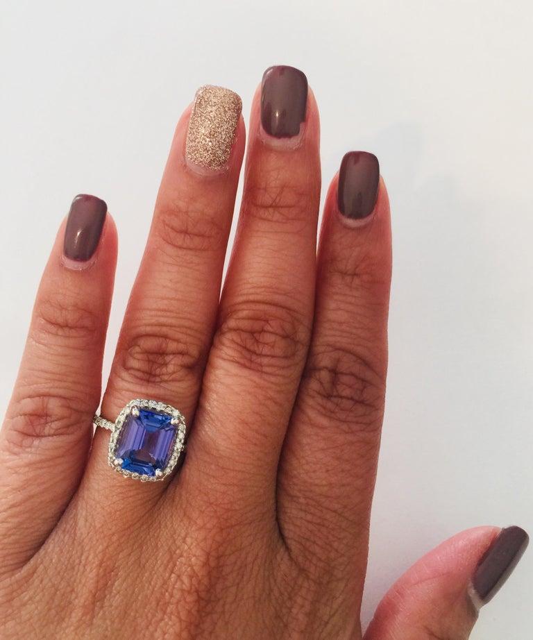 4.30 Carat Emerald Cut Tanzanite Diamond 14 Karat White Gold Engagement Ring For Sale 1
