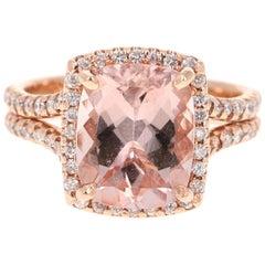 4.30 Carat Morganite Diamond 14 Karat Rose Gold Ring