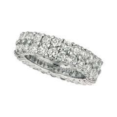 4.30 Carat Natural 2 Row Diamond Eternity Ring Band G SI 18K White Gold