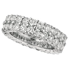 4.30 Carat Natural 2-Row Diamond Eternity Ring Band G SI 18 Karat White Gold