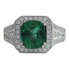 4.30 Carat Natural Emerald 18 Karat White Gold Diamond Ring