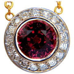 4.30 Carat Natural Pink Tourmaline Diamond Necklace 14 Karat