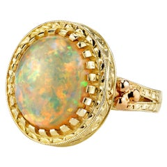 4.30 Carat Opal, Yellow Gold, Handmade Engraved Dome Solitaire Signet Band Ring