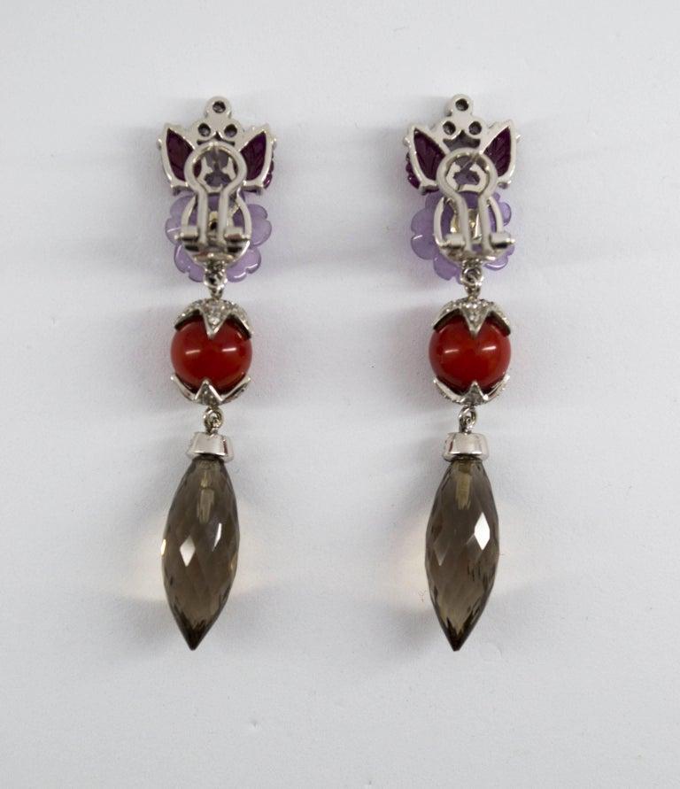 4.30 Carat Ruby 1.10 Carat Diamond Agate Fume Quartz White Gold Clip-On Earrings For Sale 5