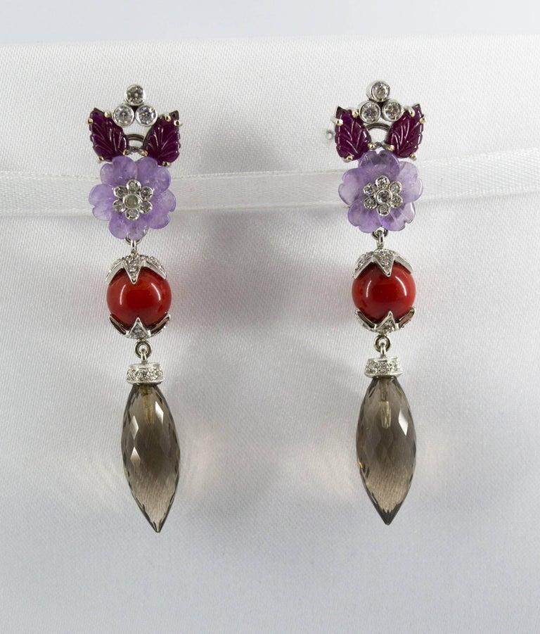 Art Nouveau 4.30 Carat Ruby 1.10 Carat Diamond Agate Fume Quartz White Gold Clip-On Earrings For Sale
