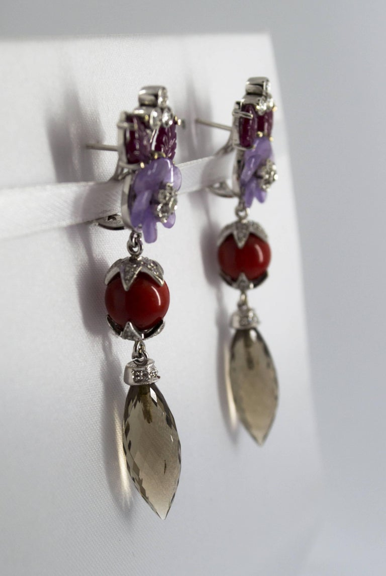 4.30 Carat Ruby 1.10 Carat Diamond Agate Fume Quartz White Gold Clip-On Earrings In New Condition For Sale In Naples, IT