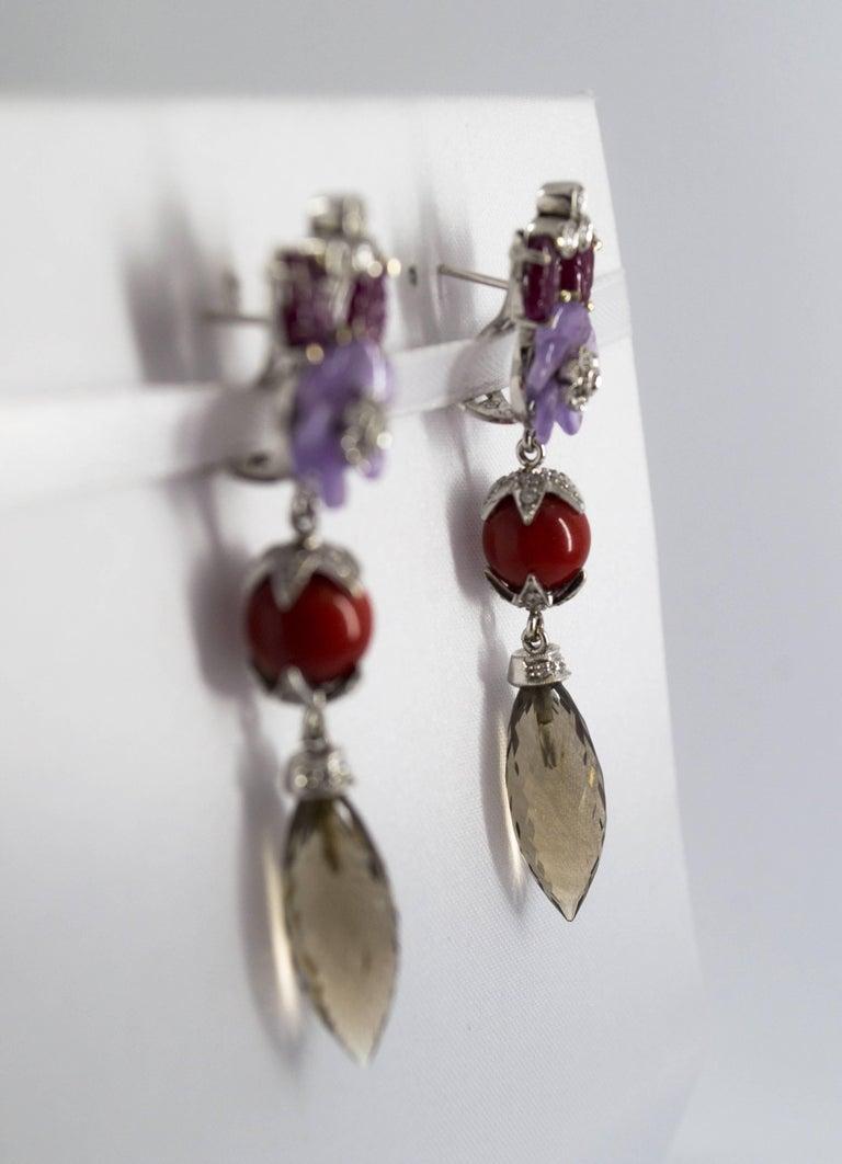 Women's or Men's 4.30 Carat Ruby 1.10 Carat Diamond Agate Fume Quartz White Gold Clip-On Earrings For Sale