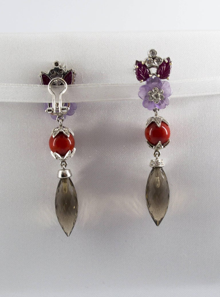 4.30 Carat Ruby 1.10 Carat Diamond Agate Fume Quartz White Gold Clip-On Earrings For Sale 1