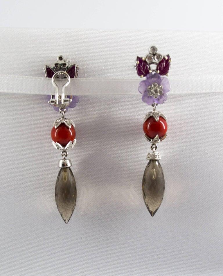4.30 Carat Ruby 1.10 Carat Diamond Agate Fume Quartz White Gold Clip-On Earrings For Sale 2
