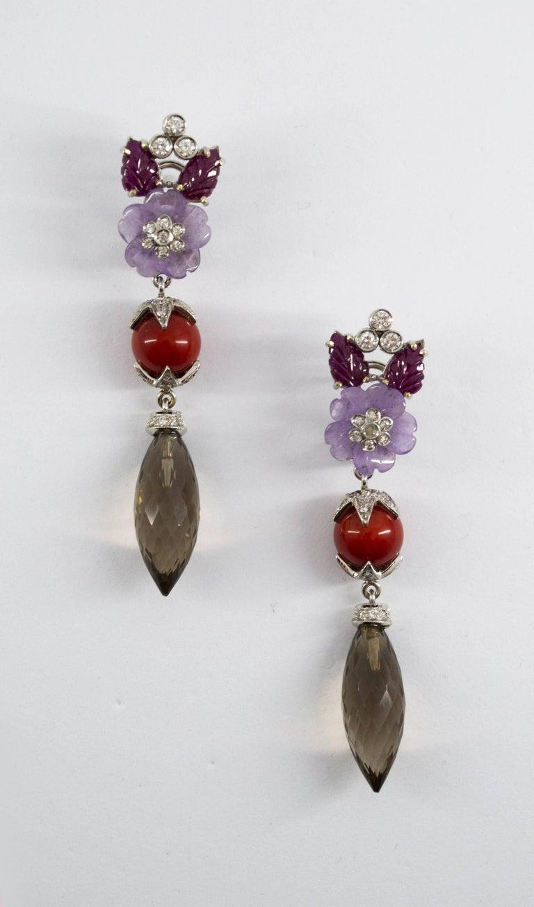 4.30 Carat Ruby 1.10 Carat Diamond Agate Fume Quartz White Gold Clip-On Earrings For Sale 3