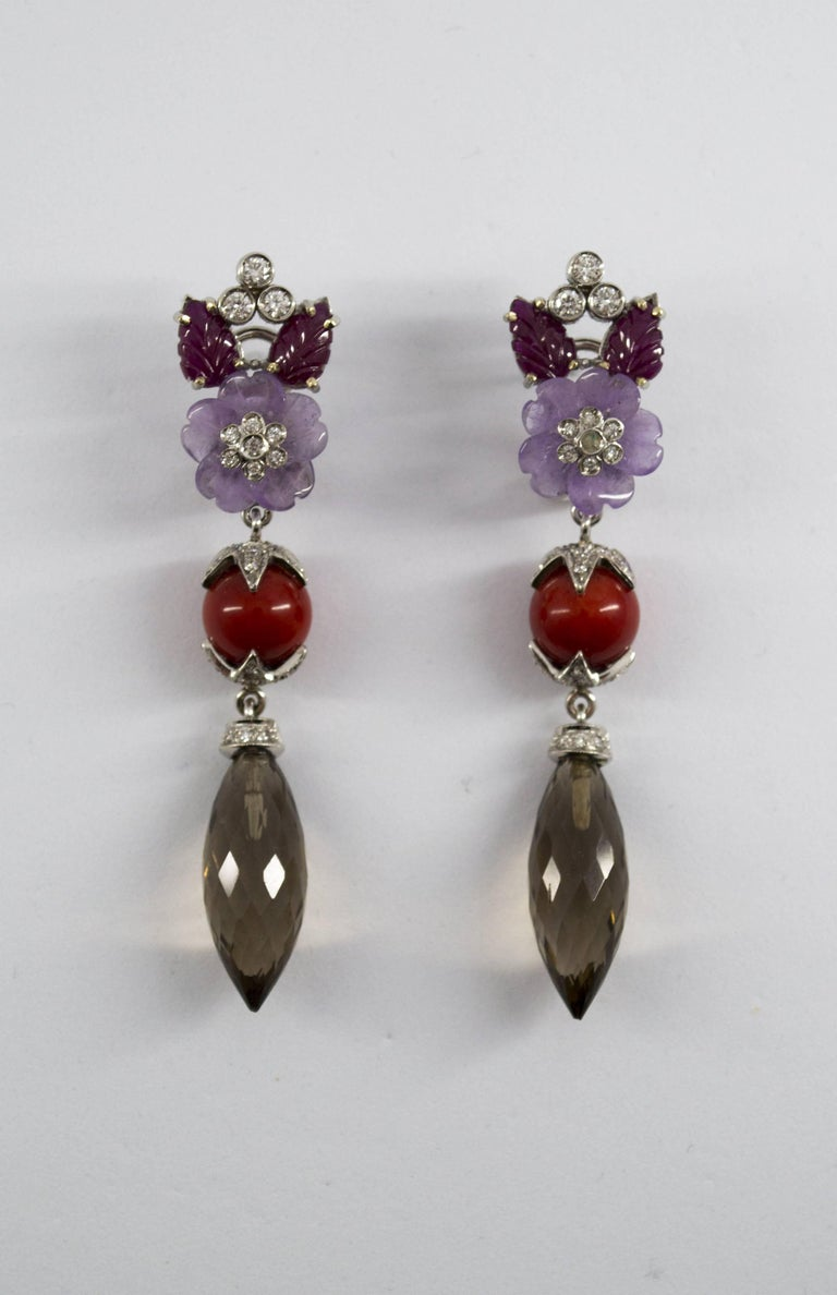 4.30 Carat Ruby 1.10 Carat Diamond Agate Fume Quartz White Gold Clip-On Earrings For Sale 4