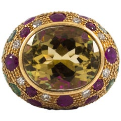 4.30 Carat Ruby Emerald 0.35 Carat Diamond Citrine Yellow Gold Cocktail Ring