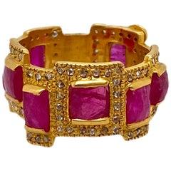 4.30 Carat Ruby Mosaic Art Deco Style Band Ring in 20 Karat Yellow Gold