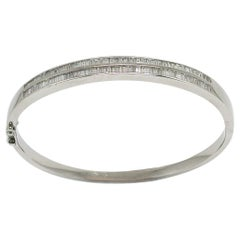 4.30 Carat White Gold Diamond Baguette Bangle