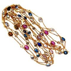 43.05 Carat Natural Vivid Sapphires Diamonds Yard Necklace 14 Karat 4-Tier Wrap