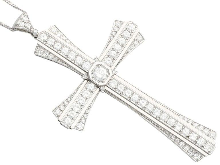 Round Cut 4.31 Carat Diamond and Platinum Cross Pendant, Antique, circa 1930 For Sale