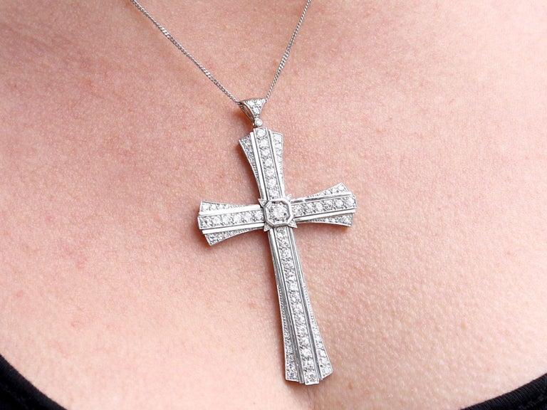 4.31 Carat Diamond and Platinum Cross Pendant, Antique, circa 1930 For Sale 3