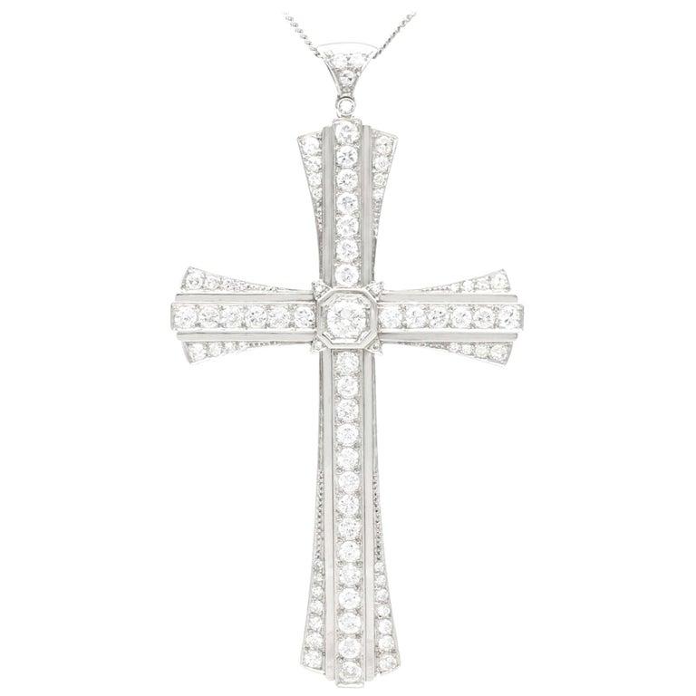 4.31 Carat Diamond and Platinum Cross Pendant, Antique, circa 1930 For Sale