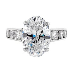 4.31 Carat F VS2 Oval Diamond Ring from Pampillonia
