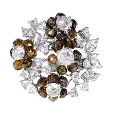4.31 Carat Greenish Brown Diamond Beads Designer Ring