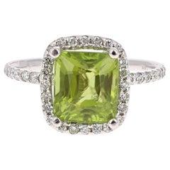 4.31 Carat Peridot Diamond Engagement White Gold Ring