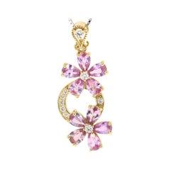 4.31 Carat Pink Sapphire Diamond 18 Karat Yellow Gold Pendant