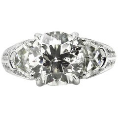 4.31 Carat Round Diamond Engagement Anniversary Platinum Ring EGL, USA