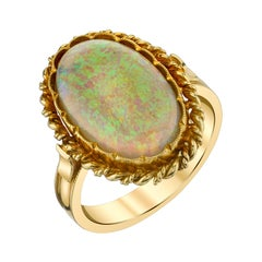 4.32 Carat Australian Opal with Pinfire Play-of-Color Yellow Gold Signet Ring