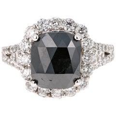 4.32 Carat Black and White Diamond 18 Karat White Gold Engagement Ring