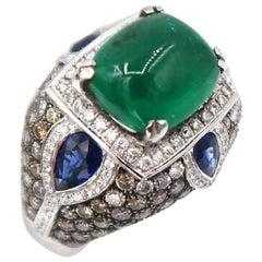 4.32 Carat Cabochon Emerald Gold Ring Champagne White Diamond Sapphire Motif