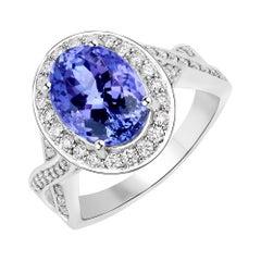 4.32 Carat Genuine Tanzanite and White Diamond 14 Karat White Gold Ring