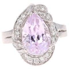 4.32 Carat Kunzite Diamond 14 Karat White Gold Cocktail Ring