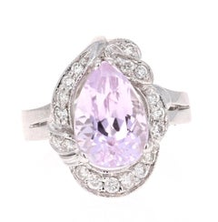 4.32 Carat Kunzite Diamond White Gold Cocktail Ring
