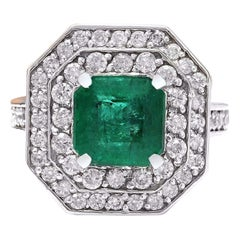 4.32 Carat Natural Emerald 18 Karat Solid White Gold Diamond Ring