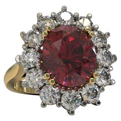 4.32 Carat Oval Rhodolite and Diamonds Cocktail Ring in Platinum & 18 Carat Gold