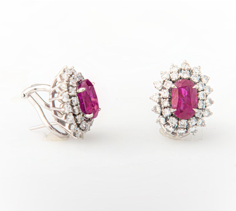 4.32 Carat Oval Rubies and 1.80 Carat Diamond Stud Earrings, 14 Karat White Gold In New Condition For Sale In Houston, TX