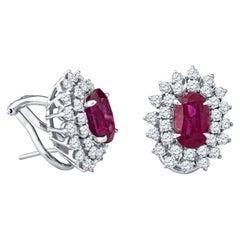 4.32 Carats Oval Burma Rubies (AGL) & 1.80 Carats Diamond Stud Earrings, 14K