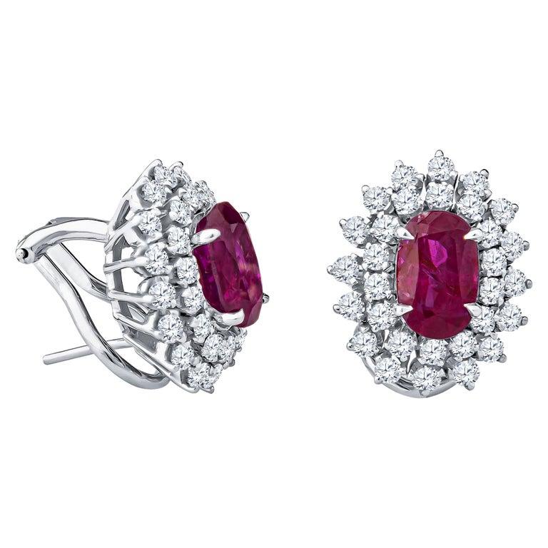 4.32 Carat Oval Rubies and 1.80 Carat Diamond Stud Earrings, 14 Karat White Gold For Sale