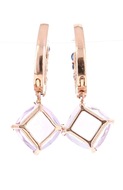 Modern 4.33 Carat Amethyst and Blue Sapphire Drop Earrings 14 Karat Rose Gold For Sale