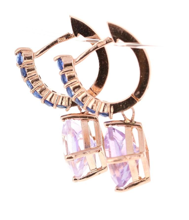 Cushion Cut 4.33 Carat Amethyst and Blue Sapphire Drop Earrings 14 Karat Rose Gold For Sale