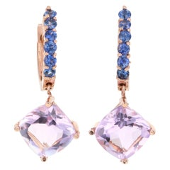 4.33 Carat Amethyst Sapphire 14 Karat Rose Gold Drop Earrings