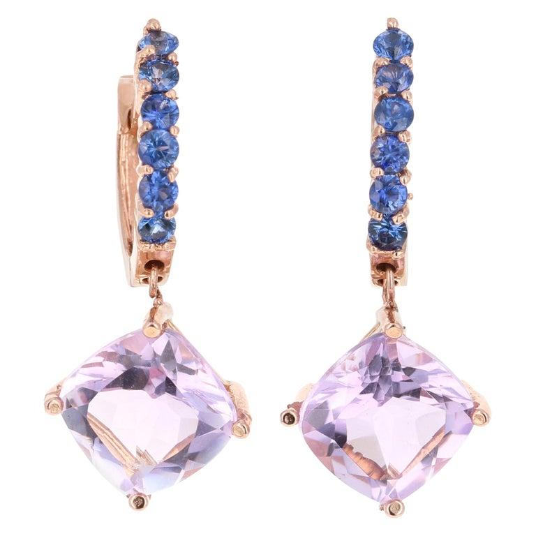 4.33 Carat Amethyst and Blue Sapphire Drop Earrings 14 Karat Rose Gold For Sale